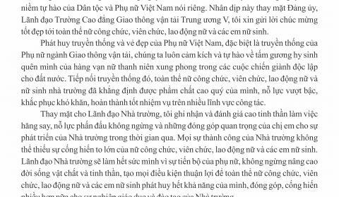 Thư chúc mừng của Hiệu trưởng nhân ngày Quốc tế Phụ nữ 8/3